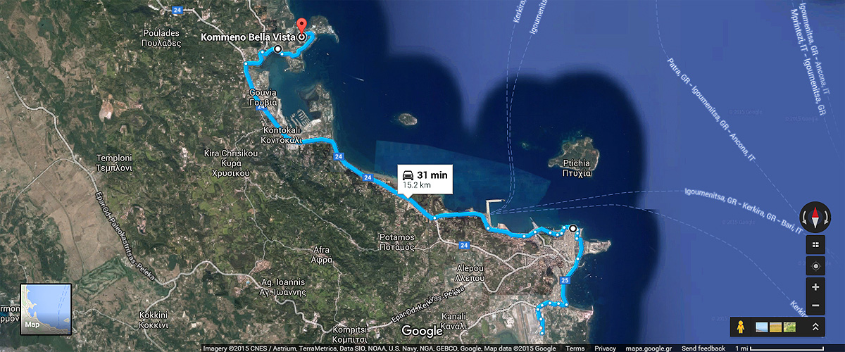 Corfu Bellavista map